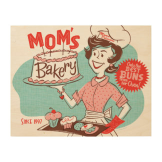 Mom's Bakery Retro Wood Sign 14x11 (CUSTOMIZABLE) Wood Canvas