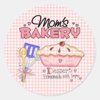 Mom's Bakery Round Stickers