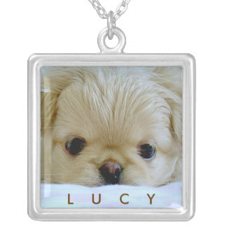Mom's best friend / Dog photo template Silver Plated Necklace