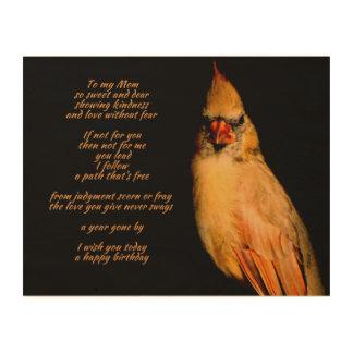 Mom's Birthday Cardinal Poem Wood Canvas