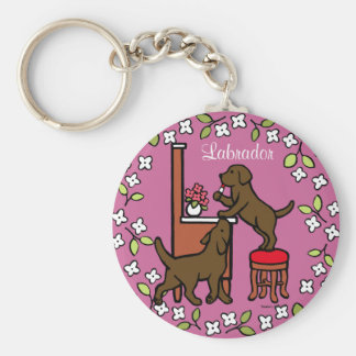 Mom's Chocolate Lab Puppy Duo Key Chain