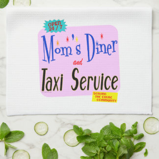 Moms Diner and Taxi Service Retro Kitchen Towel
