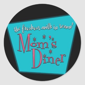 Mom's Diner Retro Pro-Breastfeeding Design Classic Round Sticker
