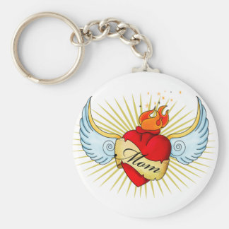 Mom's Heart Basic Round Button Key Ring