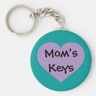 Mom's keys lavender heart basic round button key ring