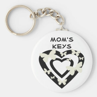 Mom's keys, open hearts, white butterflies basic round button key ring