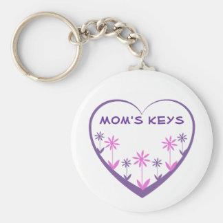 Mom's keys purple open heart, pink, purple flowers basic round button key ring