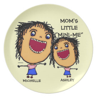 Moms Little Mini Me Cartoon Plates