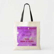 """""""Moms Love Obama"""" Vote Obama 2012 Tote Canvas Bag"""