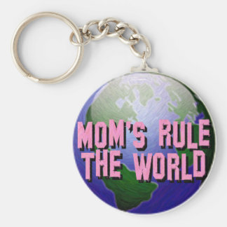 Mom's Rule The World-Keychain Basic Round Button Key Ring