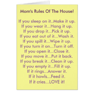 Mom's Rules Of The House Card