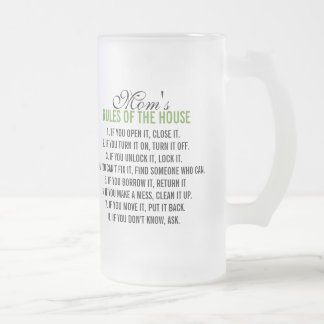 Mom's Rules of the House Frosted Glass Mug