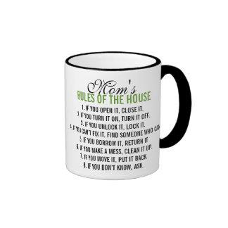 Mom's Rules of the House Ringer Mug