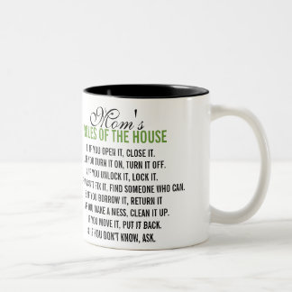 Mom's Rules of the House Two-Tone Coffee Mug
