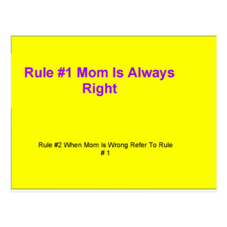 Mom's Rules Yellow And Purple Postcard