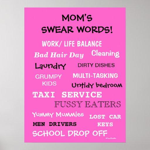 Moms Swear Words - Things That Make Mom Curse! Print