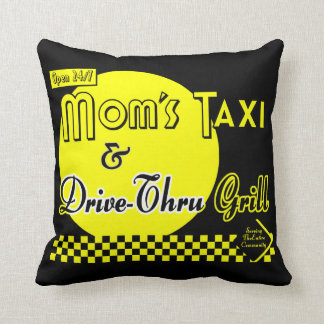 Moms Taxi and Grill Retro Pillow