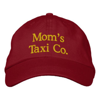 Mom's Taxi Company Red Embroidered Hat