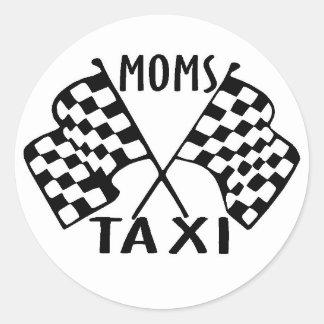 moms taxi round sticker