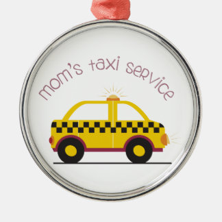 Moms Taxi Service Silver-Colored Round Decoration
