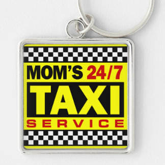 Mom's Taxi Service Silver-Colored Square Key Ring