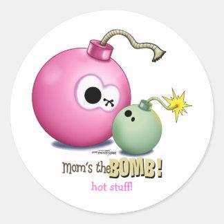 Moms the Bomb Round Sticker