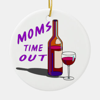 Moms Time Out Glass of Wine Christmas Ornament