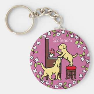 Mom's Yellow Lab Puppy Duo Key Chain
