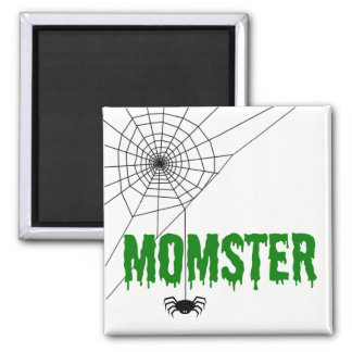 Momster Green Dripping Font Spider Web Magnet