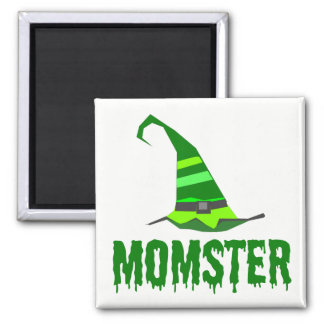 Momster Green Dripping Font Witch Hat Square Magnet