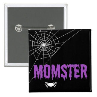 Momster Purple Dripping Font Spider Web 15 Cm Square Badge