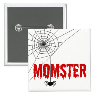 Momster Red Dripping Font Spider Web 15 Cm Square Badge