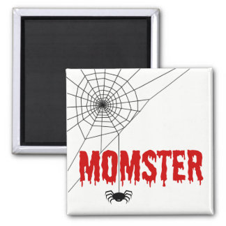 Momster Red Dripping Font Spider Web Magnet