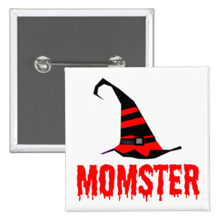 Momster Red Dripping Font Witch Hat 15 Cm Square Badge