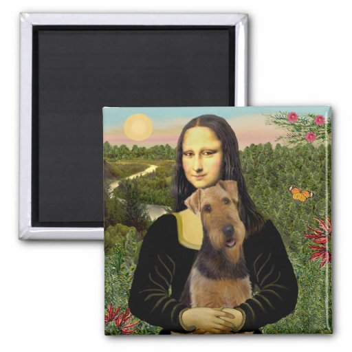 Mona Lisa - Airedale Terrier (#1) Square Magnet