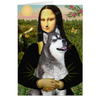 Mona Lisa - Alaskan Malamute Greeting Card