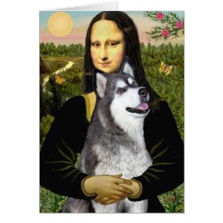 Mona Lisa - Alaskan Malamute Greeting Card