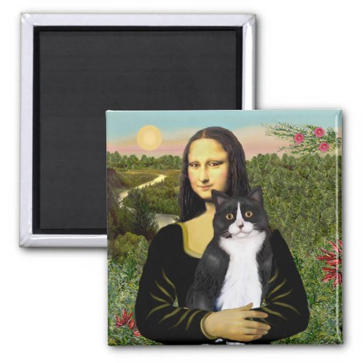 Mona Lisa - Am SH black and white cat Refrigerator Magnet