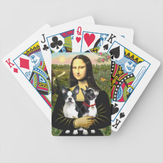 Mona Lisa and her Two Boston Terriers Poker Cards