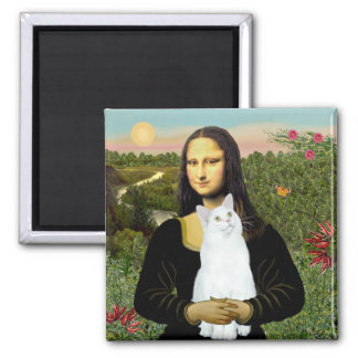 Mona Lisa and White cat Square Magnet