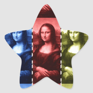 Mona Lisa Animal Print Primary Colors Star Sticker