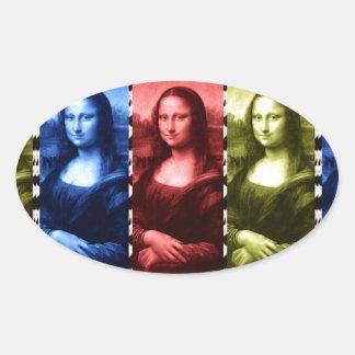 Mona Lisa Animal Print Primary Colors Oval Stickers