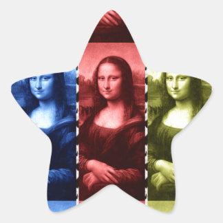 Mona Lisa Animal Print Primary Colors Star Stickers