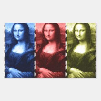Mona Lisa Animal Print Primary Colors Rectangle Sticker