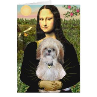 Mona Lisa - AShih Tzu P Greeting Card