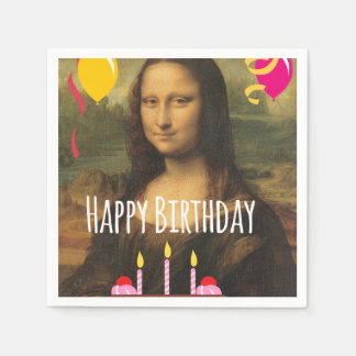 Mona Lisa Birthday With Cake and Balloons Disposable Serviette