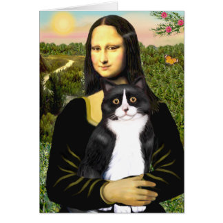Mona Lisa - black and white cat Card