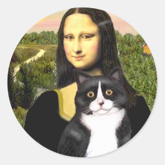 Mona Lisa - black and white cat Round Sticker