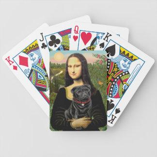 Mona Lisa - Black Pug Bicycle Playing Cards