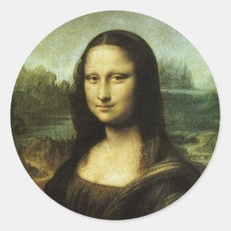 Mona Lisa by Leonardo da Vinci, Renaissance Art Classic Round Sticker
